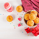 Muffins with pumpkin. Cupcakes with Valentine's Day decor. Flat lay. Top view. - PhotoDune Item for Sale