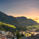 Sunset over Ortisei St Ulrich, Dolomites Alps mountains, Italy. - PhotoDune Item for Sale