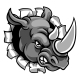 Rhino Mean Angry Sports Mascot Breaking Background - GraphicRiver Item for Sale