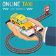 Online Taxi Isometric Concept - GraphicRiver Item for Sale