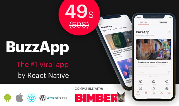 BuzzApp - Viral Magazine WordPress app by React Native (CeNews) - CodeCanyon Item for Sale