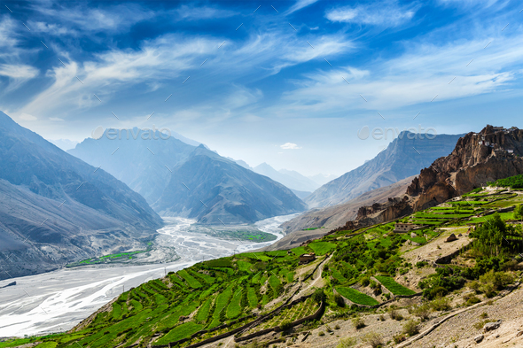 Spiti valley and river in Himalayas - Stock Photo - Images