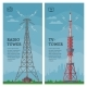 Tower Vector Global Skyline Towered Antenna - GraphicRiver Item for Sale