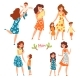 Mothers and Their Kids Set, Moms Talking, Walking - GraphicRiver Item for Sale