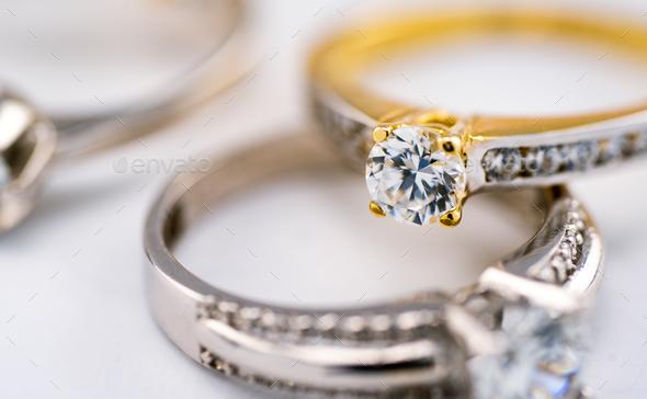 Engagement Diamond Wedding Ring Group On White Background Diamond Golden Rings