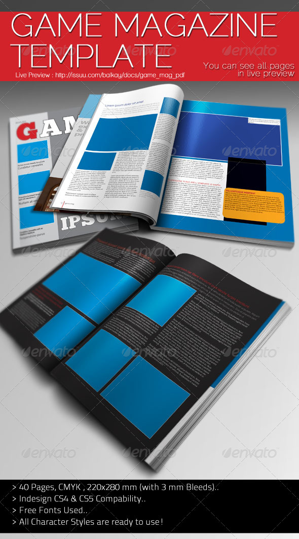 Game Magazine Template by balkay | GraphicRiver