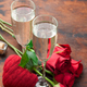 Valentine's day greeting card with roses and champagne - PhotoDune Item for Sale
