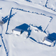 Snow covered remote village, homestead in the mountains. Aerial drone view - PhotoDune Item for Sale