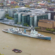 Aerial view of HMS Belfast on Thames river in London - PhotoDune Item for Sale