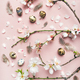 Easter background with eggs, almond flowers and feathers, vertical composition - PhotoDune Item for Sale
