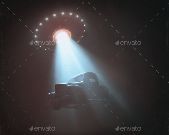 Alien Abduction Old Vintage Photo Style - Stock Photo - Images