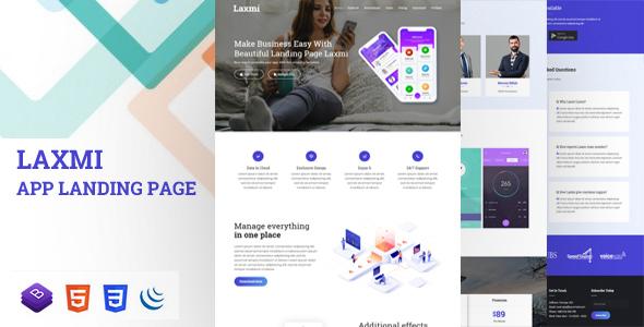 Laxmi - Responsive App Landing Page - Technology Site Templates