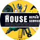 House Repair Company Service PostCard - GraphicRiver Item for Sale