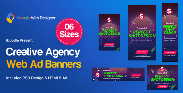 Creative, Startup Agency Banners HTML5 Ad D41 - GWD & PSD - CodeCanyon Item for Sale