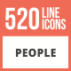 500 People Line Multicolor B/G Icons - GraphicRiver Item for Sale