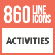 860 Activities Line Multicolor B/G Icons - GraphicRiver Item for Sale
