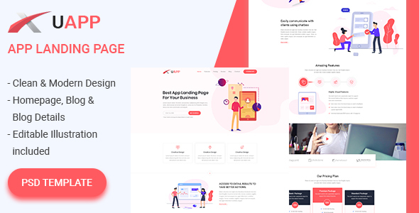 UAPP - App Landing Page PSD Template - Software Technology