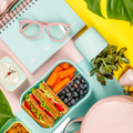 Creative flat lay with healthy lunch and office or school supp - PhotoDune Item for Sale