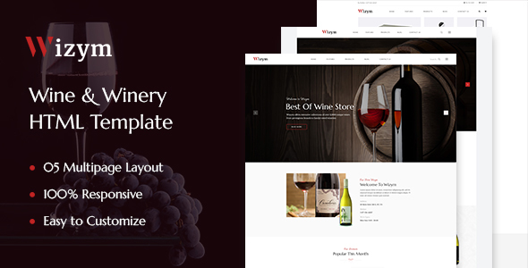 Wizym   Wine & Winery HTML Template - Food Retail