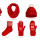 Winter Red Knitted Clothes Set - GraphicRiver Item for Sale