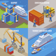 Four Seaport Isometric Icon Set - GraphicRiver Item for Sale