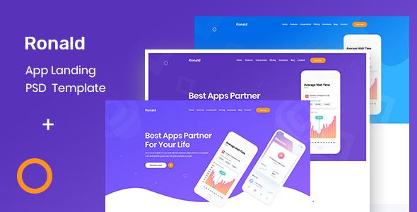 Ronald- App Landing Page - Technology PSD Templates