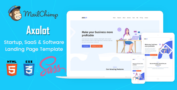 Axolot - Startup, SaaS & Software Landing Page Template - Business Corporate