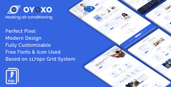 OYOXO - Heating air conditioning services PSD Template - Business Corporate