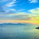 Sunset view of Elba Island and Piombino piazza bovio lighthouse. - PhotoDune Item for Sale