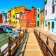 Venice landmark, Burano island canal, bridge, colorful houses an - PhotoDune Item for Sale