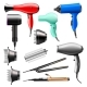 Hair Dryer Vector Fashion Hairdryer of Hairdresser - GraphicRiver Item for Sale