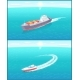 Cargo Ship and Yacht Leaves Trace in Sea or Ocean - GraphicRiver Item for Sale