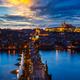 Night view of Prague, Charles Bridge, Vltava river - PhotoDune Item for Sale