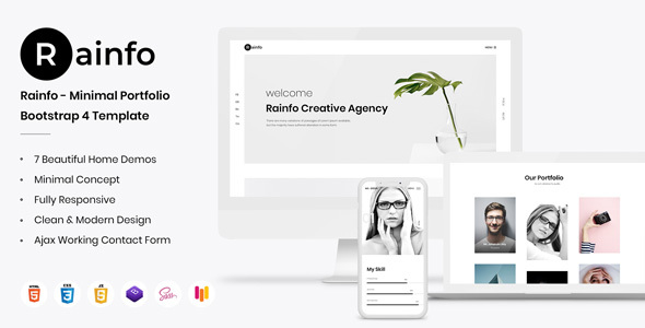 Rainfo - Minimal Creative Portfolio for Freelancers & Agencies