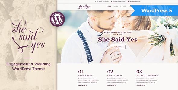 Fabulous SheSaidYes - Engagement & Wedding WordPress Theme