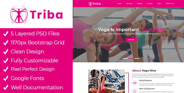 Triba - Yoga PSD Template - Health & Beauty Retail
