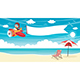 Vector Illustration of Kid Flying Plane With Banner - GraphicRiver Item for Sale