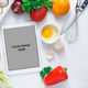 Cooking concept, tablet computer and breakfast ingredient on white bacjground - PhotoDune Item for Sale