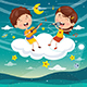 Vector Illustration of Kids Making Music on Cloud - GraphicRiver Item for Sale