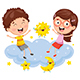 Vector Illustration of Kids Sitting on Cloud - GraphicRiver Item for Sale