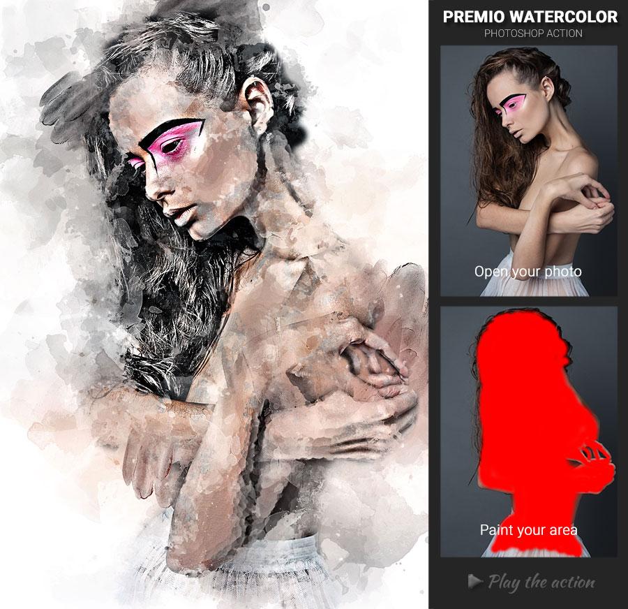 Скачать [Graphicriver] Premio Watercolor Photoshop Action (2019), Отзывы Складчик » Архив Складчин