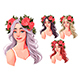 Girls with Flowers on Their Heads - GraphicRiver Item for Sale