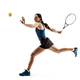 Full length portrait of young woman playing tennis isolated on white background - PhotoDune Item for Sale