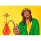 Rastafarian Man Smoking Hookah Pop Art Vector - GraphicRiver Item for Sale