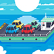 Isometric Barge Carrying Colors Classic - GraphicRiver Item for Sale