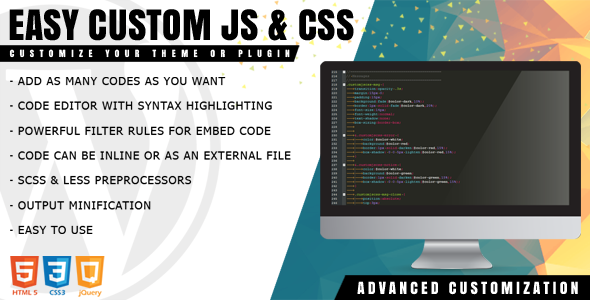 Easy Custom JS and CSS - Extra Customization for WordPress - CodeCanyon Item for Sale