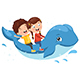 Vector Illustration of Kids Riding Whale - GraphicRiver Item for Sale