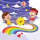 Vector Illustration of Kids Jumping on Rainbow - GraphicRiver Item for Sale