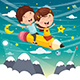 Vector Illustration of Kids Flying With Pencil - GraphicRiver Item for Sale