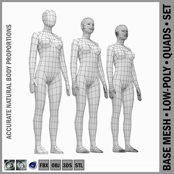 Female Base Mesh Natural Proportions in Rest Pose - 3DOcean Item for Sale